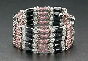New-Wrap-Magnetic-Bracelet-Necklace-Hematite-Beads-Purple-Crystals-Free-Shipping