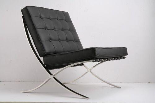 Barcelona Pavilion Genuine Grain Italian Leather Lounge Love Seat Chair Ottoman