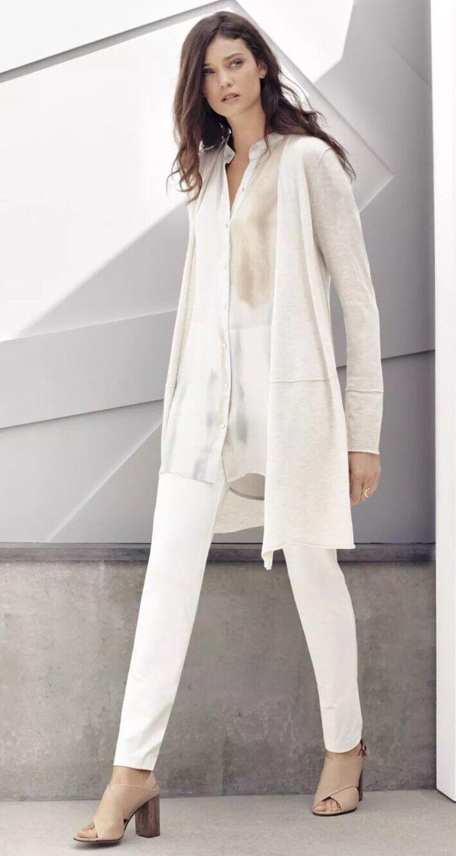 1X Eileen Fisher Marble Paint Wash Printed Silk Mandarin Collar Long Shirt 258