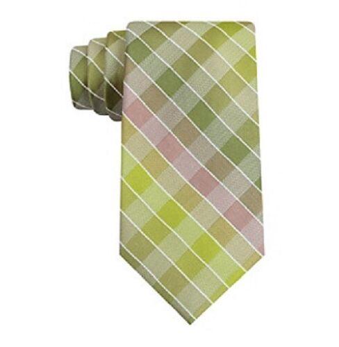 $115 KENNETH COLE Men GREEN BROWN WHITE DRESS SLIM SILK SKINNY NECKTIE 58 x 3.25