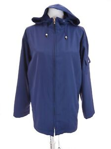 Talbots-Womens-Full-Zip-Hooded-Lightweight-Parka-Anorak-Jacket-Rain-Blue-Sz-M