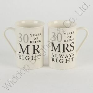 Image Is Loading 30th Pearl Wedding Anniversary Mugs Gift Set Wg822