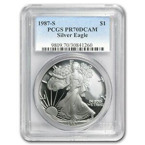 1987-S Proof Silver American Eagle PR-70 PCGS 1 oz .999 Silver Rare POP 3,203