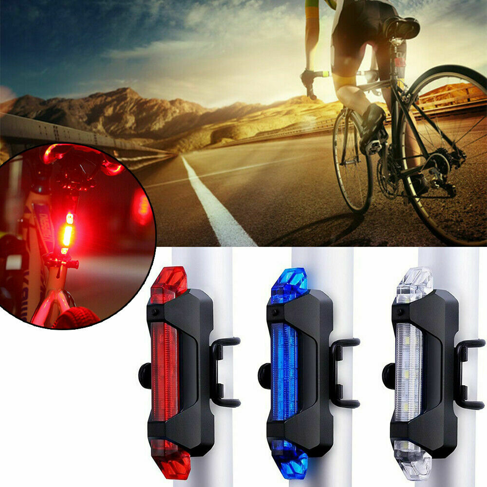 5LED Super Bright Rechargeable Warning Light Taillight USB Bicycle Portable