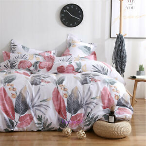 Single/Double/Queen/King Bed Doona/Quilt/Duvet Cover Set Cotton Leaf  White