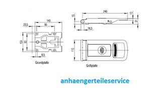 Drehstangenverschluss Aufbauverschlussteil EDELSTAHL Ø16 mm L228531