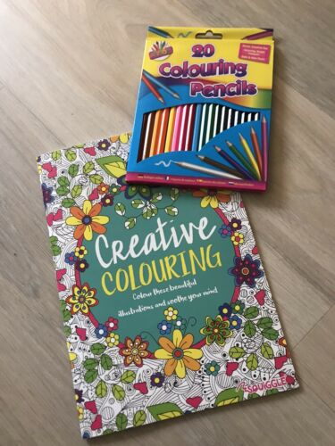 New Coloured Pencils+Colouring Book Set Adult  20 Pencils Therapy Gift for Women