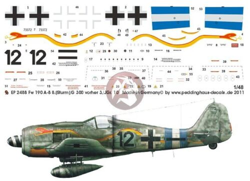 "//JG 300 Germany 2488 Peddinghaus 1//48 Fw 190 A-8 /""Black 12/"" Markings 8. Sturm"