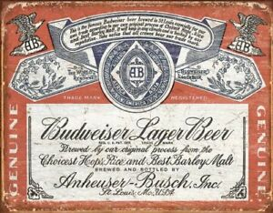Budweiser-Historic-Label-Distressed-Retro-Vintage-Tin-Sign-13-x-16in