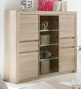 kommode highboard sonoma eiche vitrine schrank m bel inkl beleuchtung sevilla ebay. Black Bedroom Furniture Sets. Home Design Ideas