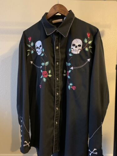 Scully Black Metallic Skull Embroidered Western Co