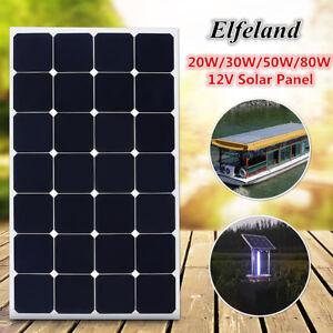 Elfeland 12v 20w 30w 50w 80w Solar Panel Battery Charger Z