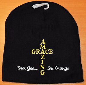 cae274ce718 AMAZING GRACE WINTER BEANIE KNIT STOCKING SOCK CAP HAT CHRISTIAN ...