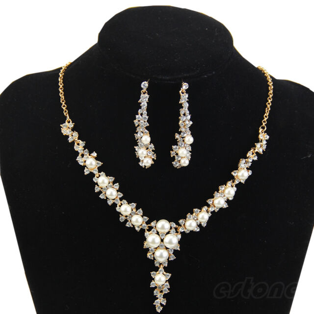 New Fashion Rhinestone Pearl Necklace and Earring For Wedding Bridal Jewelry Set