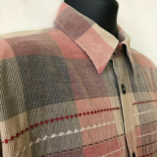 Signum Plaid Check Embroidered Corduroy Shirt Germ