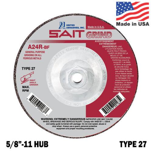 "United Abrasives SAIT 7 inch Diameter Type 27 Grinding Wheel 5//8/""-11 Hub QTY 5"