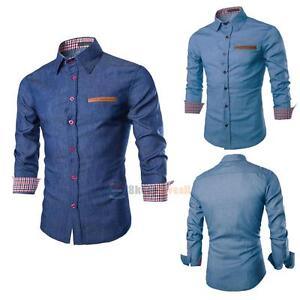 Fashion-Men-039-s-Long-Sleeve-Denim-Casual-Shirts-Slim-Fit-Dress-Shirt-Luxury-Tops