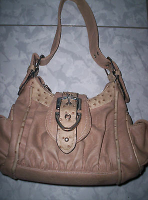 Beige weiche Handtasche, Kunstleder-Tasche, mit Schnallen und Seitentaschen