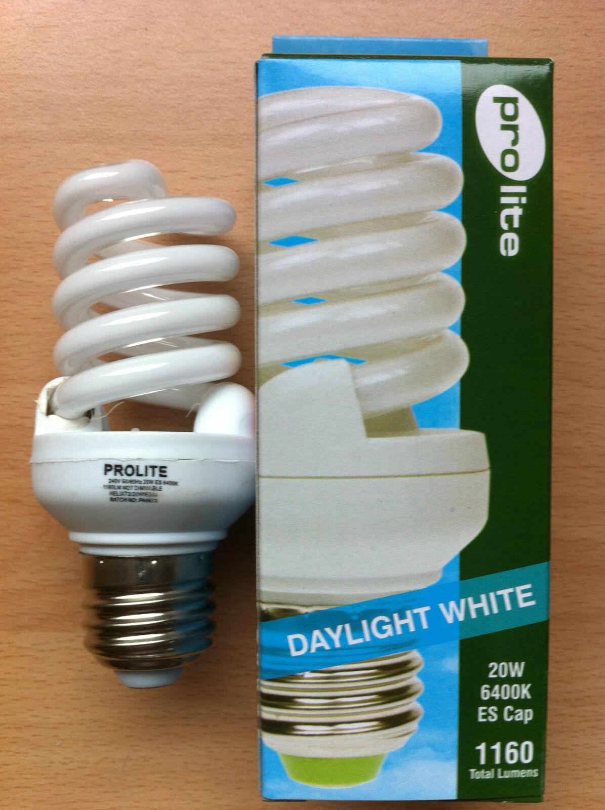 20w watt ES E27 Screw In Energy Saving Spiral CFL Daylight 6400k Bulb x 10