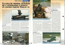 Missile Antichar AC 3GLP/MP Trigat Europe 1980 Helicoptère  FICHE CHAR TANK