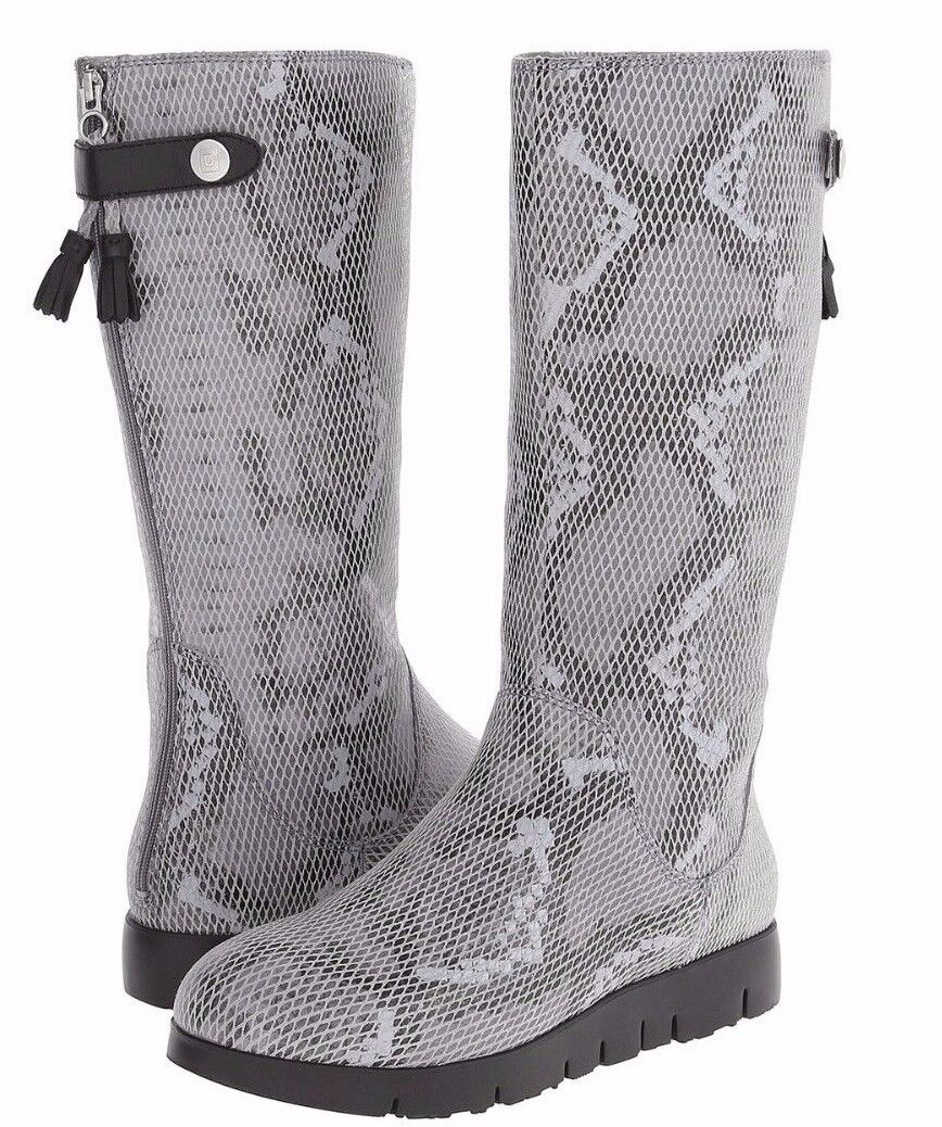 NEW TSUBO WOMEN Sz8US EILIS SNAKESKIN WATER RESISTANT BOOTS CHARCOAL SUEDE $295.