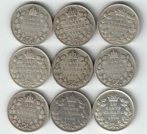 9-X-CANADA-TEN-CENTS-DIMES-KING-GEORGE-800-SILVER-COINS-1928-1936-BAR-CANADIAN