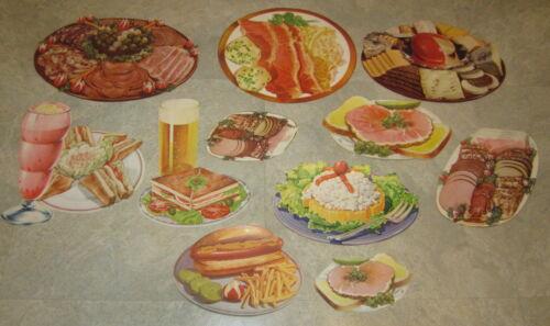 Lot of 11 Old 1950/'s Vintage SANDWICH FOOD BEER DELI DINER Paper Diecuts