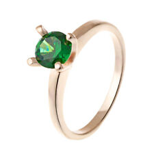Womens Mens Couple Engagement Gold Filled Emerald Green Crystal Ring Size 9