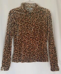 Cheetah-Print-Womens-Long-Sleeve-Collar-Half-Zip-V-Neck-Shirt-Medium-Tripp-NYC