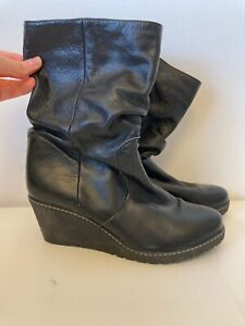 NEXT-UK-8-Black-Leather-Wedge-Knee-High-Calf-Slouch-Boots