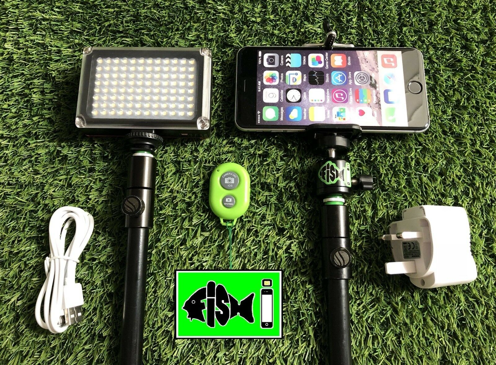 Fish I Phone Holder For Fishing Inc blueetooth Remote & Rechargeable 96 Led Light