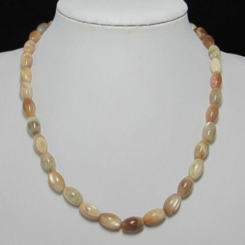 schön Kette 50cm aus Mondstein Olive Perlen und 925 silber