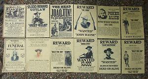 OUTLAWS-LAW-DOGS-WILD-WEST-POSTERS-Novelty-reproductions-SET-F-Western