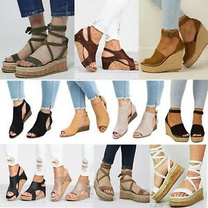 Womens-Ladies-Platform-Cork-Espadrille-Wedge-Sandals-Ankle-Peep-Toe-Shoes-Size