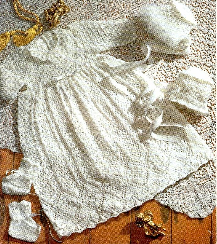 Baby 2ply Christening Dress Shawl Bonnets Bootees ...