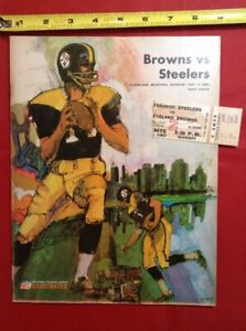more photos c3817 75d07 Details about 1967 Cleveland Browns v Pittsburgh Steelers Ticket & Program  NFL Football Muni