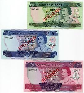 Solomon-Island-Specimen-Set-of-3-Notes-2-5-10-Dollars-1979-P-CS1-UNC