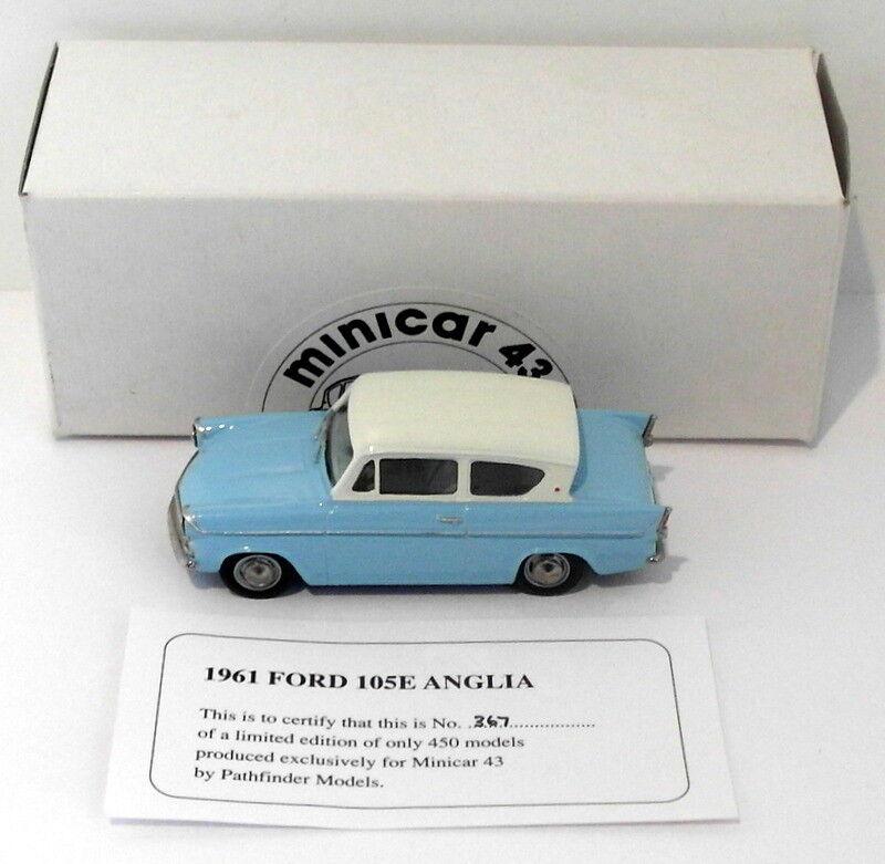 Pathfinder Minicar 43  Scale MIN2 - 1961 Ford Anglia 105E 1 Of 450 Azul