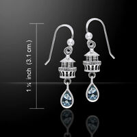 Lighthouse .925 Sterling Silver Earrings Choice Of Gemstone By Peter Stone