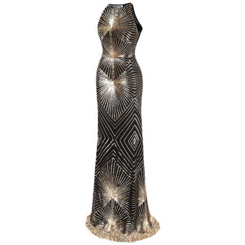 Angel-fashions Women/'s Gold Sequin Art Deco Column Spakle Long Evening Gown 402