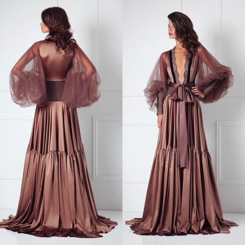 Silk Satin Long Wedding Party Bridesmaid Robe Women Sexy Bathrobe Kimono