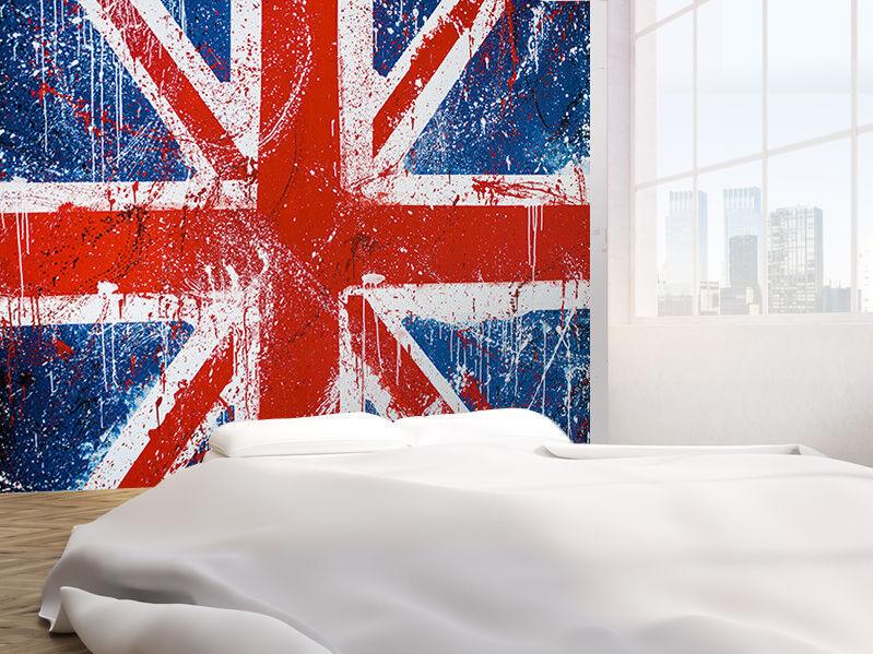 Gemalt Beton Graffiti von Britische Flagge Foto Wandtapete Wandgemälde