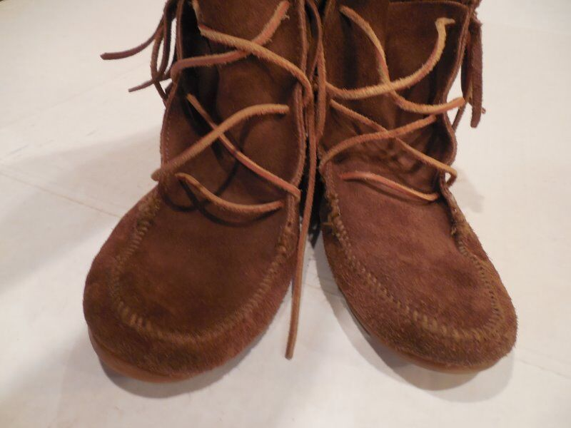 Vtg MINNETONKA MOCCASIN Brown SUEDE Lace up FRINGE BOOTIES BOOTIES BOOTIES Ankle BOOT Women Sz 4 493b4f