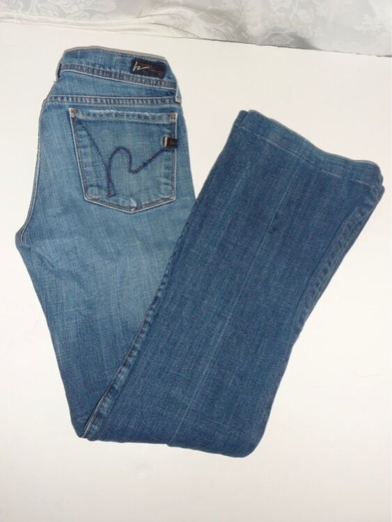 Citizens of Humanity Ingrid Stretch Flare colorado Wash Jeans 26x29 hemmed EUC