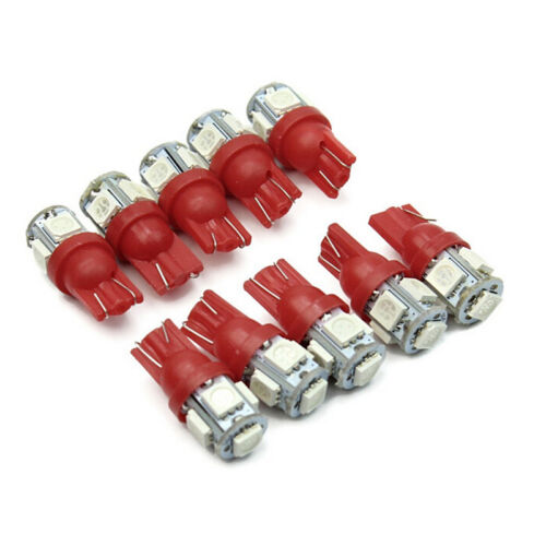 10X T10 194 168 147 W5W 5 SMD 5050 Red LED Car Wedge Tail Side Lamp Bulb 12V RS