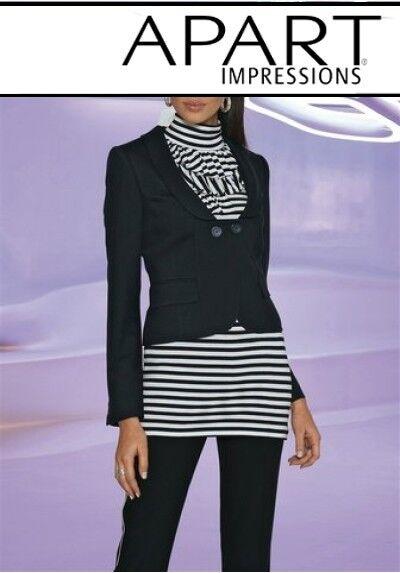 2tlg. Apart Pantalons Costume Set Taille 40 Neuve Noir Blazer Femmes Pantalon Stretch Black L32