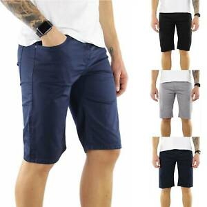 Bermuda-Uomo-Elegante-Cotone-Blu-Nero-Grigio-Slim-Pantalone-Corto-Pantaloncini