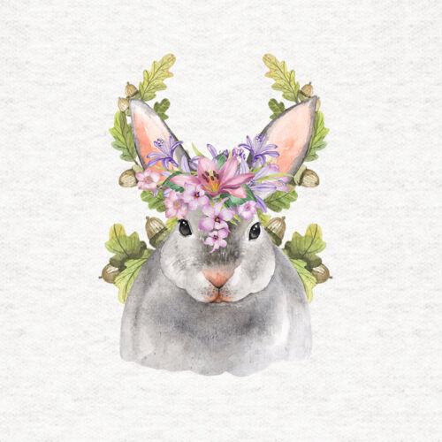 Woodland Conejo Con Floral bellota headdres-Panel De Tela Artesanal Acolchar