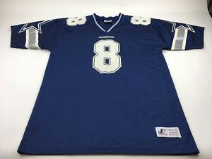 3b405886588 Vintage Starter Cowboys Blue White Troy Aikman #8 Football Jersey ...