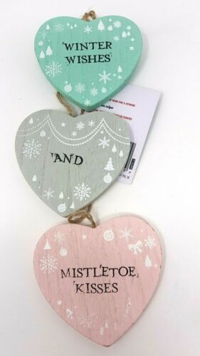 Christmas Wooden Shabby Chic Hearts Hanging Decoration Pink Grey Green